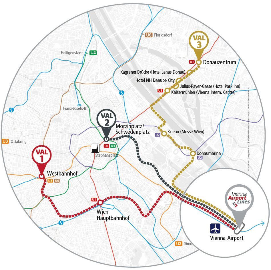 Схема маршрутов Vienna Airport Lines